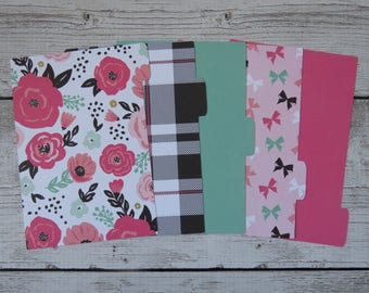 Fashionable Floral - Floral Dividers - Planner Dividers - Pocket Dividers - Divider Set