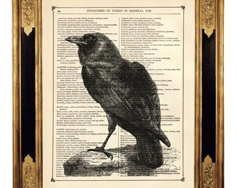 Halloween Raven Art Print Crow Bird Dictionary Art - Vintage Victorian Book Page Art Print Steampunk Gothic Poster