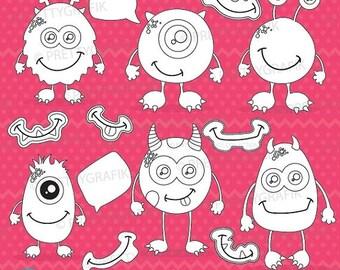 80% OFF SALE Monsters digital stamp commercial use, vector graphics, digital stamp, digital images - DS654
