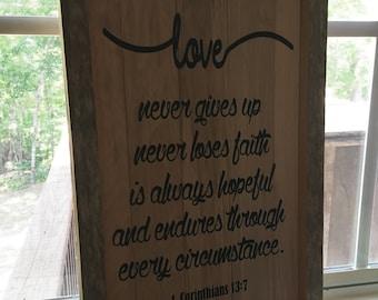 Reclaimed wood Rustic decor- Love Plaque
