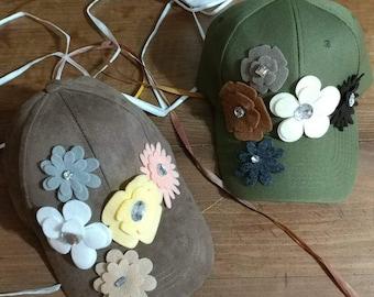 olive green baseball hat with felt flowers, hat with flowers, baseball hat with flowers, summer hats women,  summer hat girls, green hat,