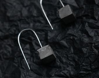 Concrete Pendant Geometric Minimal Hook Earrings