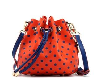 Sarah jean polka dot bucket handbag - orange and navy blue