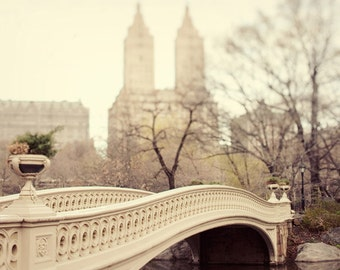 NYC Art Print, Large Wall Art, New York City Photography, Gift for Her, Central Park Bow Bridge Photograph, Neutral Beige - Walk in the Park