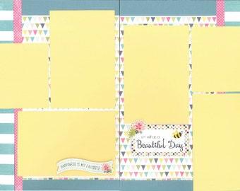 12x12 SPRINGTIME scrapbook page kit, premade spring scrapbook, 12x12 premade scrapbook page, premade scrapbook page, 12x12 scrapbook layout