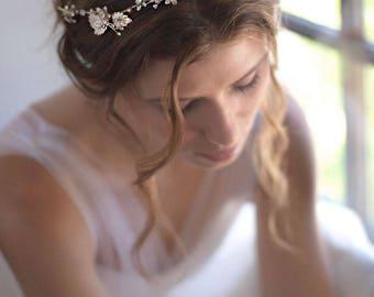 Floral Bridal Headband, Floral Wedding Headband, Flower Wedding Headband, Bridal Hair Accessory, Wedding Hair Accessories, Bride - 7007