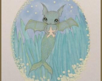 Original art Merbat mermaid lowbrow fantasy art