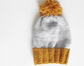 Boys knit hat, toddler hat, knit hat, pompom knit hat, kids knit hat, beanie, slouchy beanie knit hat Custom Colors Avaliable