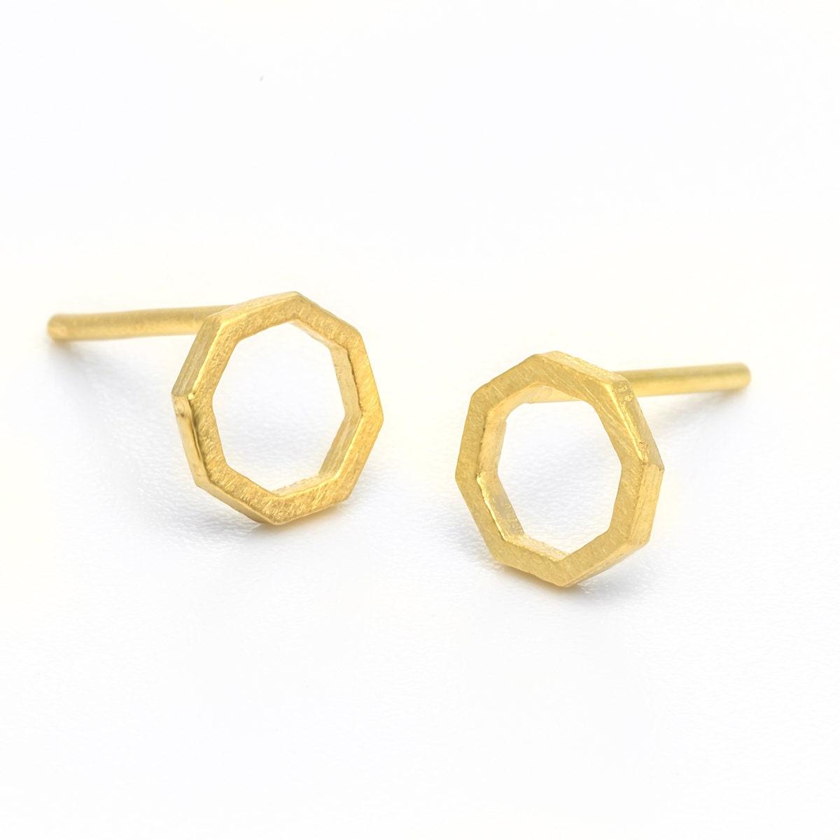 Gold stud earrings octagon studs gold geometric studs 14k