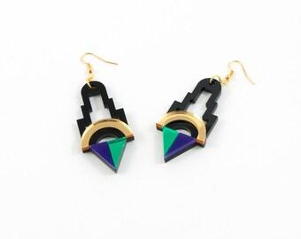 Geometric Perspex Statement Earrings - Gold, Green, Purple FORM_001