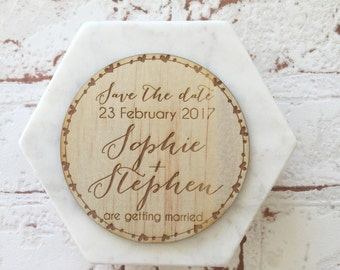 Heart circle - Save the date - Rustic Wedding Invite: Australian made Wood/timber engraved Oval wreath save the date magnet