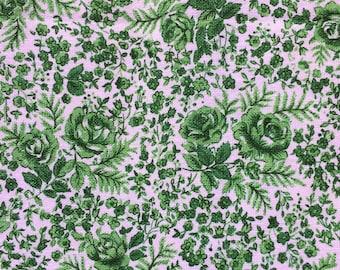 St Michael Green Vintage Floral curtains