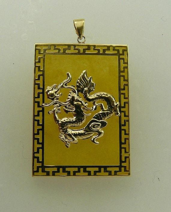 Yellow Jade 25.2 x 35.7 mm Pendant Set in 14k Yellow Gold