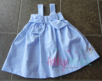 D R E S S | Girls Light Blue Seersucker Dress Size 3-6, 6-12, 12-18, 2T, 3T, 4T