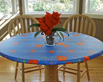 """Fitted 41-50"""" Elasticized Round Coated Tablecloth - Choose the Size & Fabric - Umbrella Hole Available - French Provencal Waterproof Fabric"""