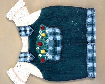 "May Garden Overalls - Wood ""Seasonal Bear n Friends""  Interchangeables Outfit"
