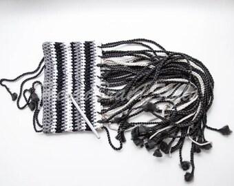 Crocheted dreadlock headband with sinegal twist and synthetic braids dreadlock headband with dreads black grey white Knitted Dreadband