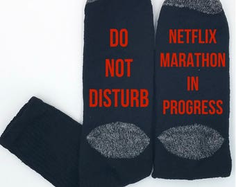 Netflix Marathon, Funny Socks, Novelty Socks, Cool Socks, Gift for Her, Gift for Him, Gag Gift, Stocking Stuffer, Christmas Gift