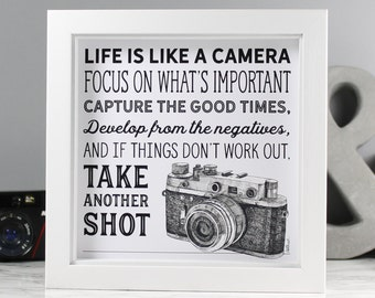Photographer Print - 'Life is like a camera' Black and White Wall Art - Vintage Camera Illustration & Quote Print - Gifts for Photographers