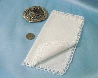 Petite Handkerchief, Small Hanky, Purse Sized Hankie, Hand Crochet, All White, Lace, Ready to ship