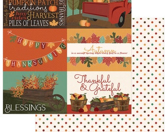 2 Sheets of Photo Play AUTUMN ORCHARD 12x12 Fall Theme Scrapbook Cardstock Paper - Blessed