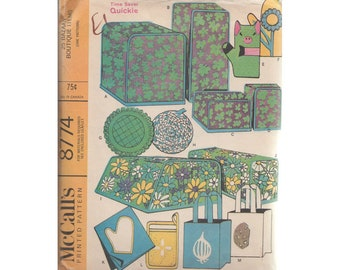 Vintage 1960s McCalls Home Accessories Pattern 8774 Appliance Covers, Pot Holders, Shopping Bags, Pig and Flower Oven MItts, Apron and More