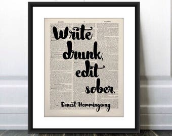 Write Drunk, Edit Sober quote, Ernest Hemingway quote printed on vintage 1885 dictionary page, dorm gift,wine lover gift, Hemingway quote
