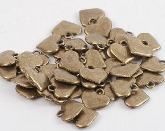Antique Bronze Small Heart Charm - 25 Count