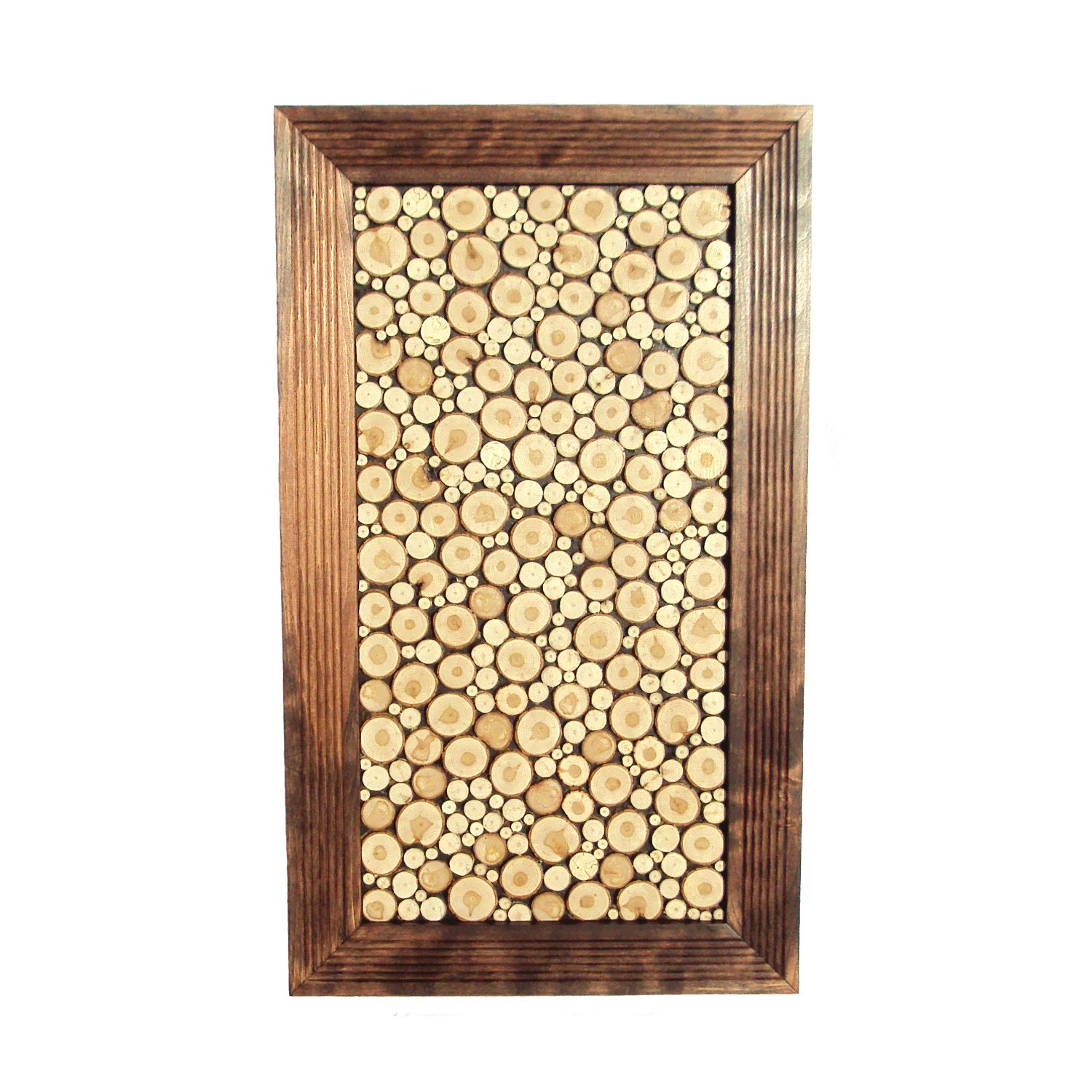 WOOD SLICE MOSAIC Wood Slice Panel Rustic Wall Art Tree