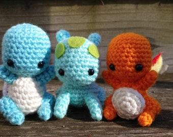 Chibi Bulbasaur Charmander and Squirtle Kanto Pokemon Inspired Starter Crochet Amigurumi Gift Set