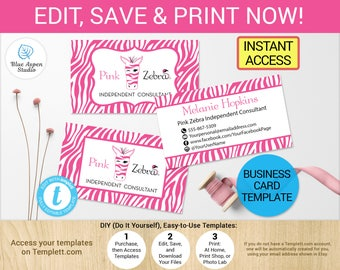 Zebra business card etsy pink zebra business card template printable digital printed personalized independent consultant cards zebra stripes instant pdf reheart Gallery