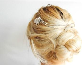 Bridal Headpiece Bohemian Crystal Hair Jewelry  Hair Chain Bridal hair chain Boho Bridal Back Headpiece Wedding Tiara ridal Hair Halo