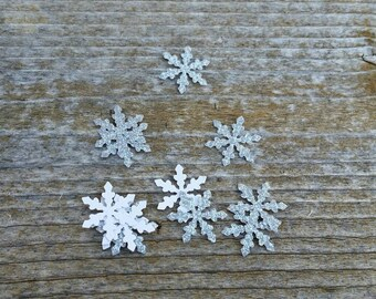 10, 20, 50, or 100 Silver Glitter Snowflake Die Cuts .5 inch Cardstock Cut Outs - Princess Party Decorations, Frozen, Disney, Elsa punchies