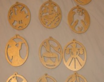 Set of 12 Days of Christmas Gold - Handmade-   ornaments
