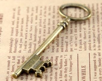 5 pcs 23x80mm Antique Bronze key Charm, Antique keys Pendant ABk04