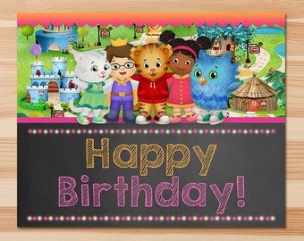 Daniel Tiger Happy Birthday Sign- Pink Chalkboard - Girl Daniel Tiger Sign - Daniel Tiger Birthday Party - Daniel Tiger Party Printables