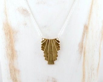 Gold Art Deco Necklace, Geometric Necklace, Art Deco Pendant, Mixed Metal Jewelry, 1920s Necklace