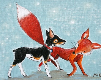 """Hawk and the Red Fox PRINT 8x10"""""""