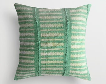 Authentic Green Arrow Mudcloth Pillow Cover, Zigzag, Lines, Light Green, Light Yellow, White
