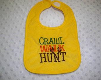 Yellow Crawl Walk Hunt Baby Hunting Bib - Perfect for Daddy's Little Hunter - Baby Boy Camo Hunting Bib
