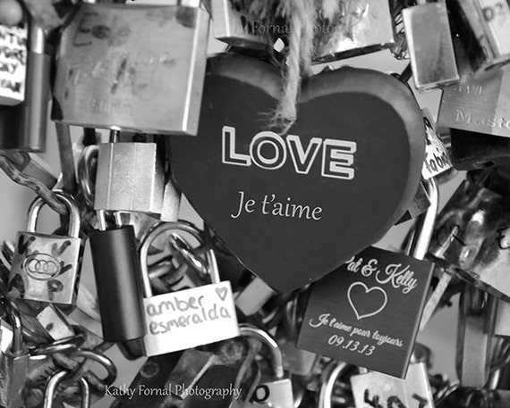 Paris Love Locks Print Black White Photography