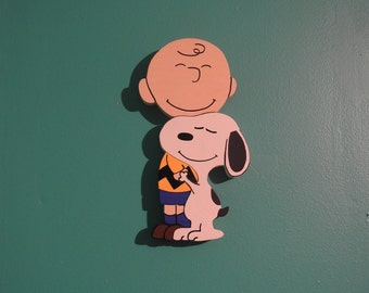 A Boy and His Dog --Puppy Love - - Intarsia - Woodwork  - Snoopy - Charlie Brown