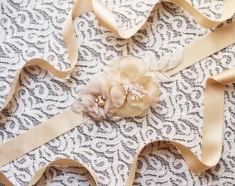 Bridal Sash Belt Wedding Dress Sashes Belts - Champagne Tan Light Gold Beige Flower Sash Belt Embroidery Lace Ribbon Belt Bridesmaids Belts