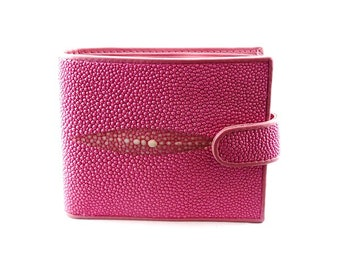Portefeuille wally galuchat/cuir ROSE