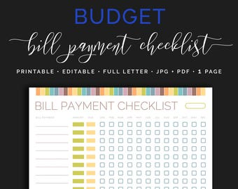 Monthly Bill Payment Tracker, Bills Due Date Checklist, Payday Organizer Calendar, Finance Planner, Home Budget Pastel Planner Inserts PDF