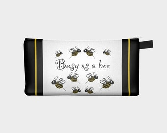 Busy Bees pencil case, cosmetic bag, bee motif bag, busy as a bee pencil bag by Felicianation Ink