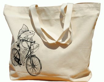 Canvas Travel Tote - Screen Printed Cotton Large Beach Bags - Travel Bag Shoulder Bag  Unique Bridal Shower Gift - Fish on a Bike