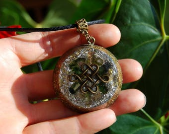 Watermelon Tourmaline Orgone Orgonite®  Pendant Necklace Celtic Knot Infinity
