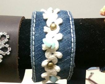 Upcycled denim cuff bracelet.