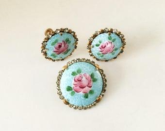 Vintage Guilloche Blue Disc Rose Brooch Earring Set